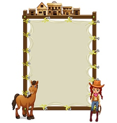 An empty signage with a cowgirl and a horse vector image vector image
