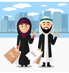 Arab couple shopping vector image vector image