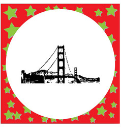 Black 8-bit golden gate bridge in san francisco vector