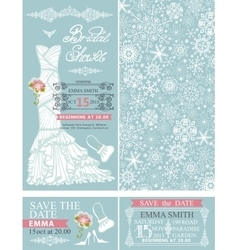Bridal shower invitationswinter weddingdress vector