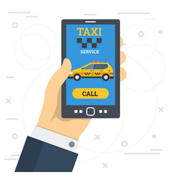 Businessman hand call taxi service by smart phone vector