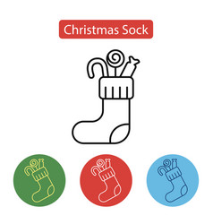 christmas sock icon in line design vector image vector image