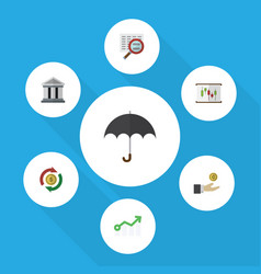 Flat icon incoming set of parasol scan bank and vector