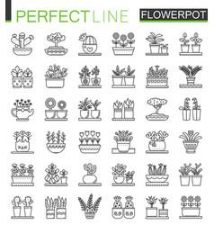 flowers in pots outline concept symbols flowerpot vector image vector image