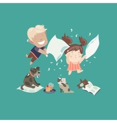 Funny kids having a pillow fight vector image vector image
