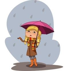 Girl pink umbrella rainy grey day vector