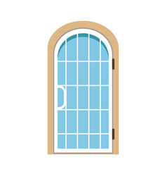 glass paned arched front door closed elegant door vector image