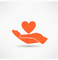hands and heart icon of kindness and charity vector image