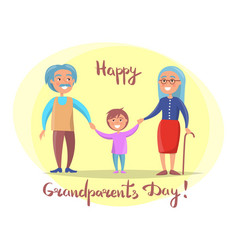 Happy grandparents day senior couple with grandson vector