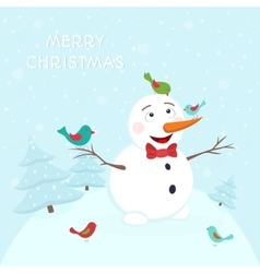 Happy smiling snowman with colorful birds vector image vector image