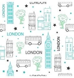 London streets hand drawn seamless pattern vector