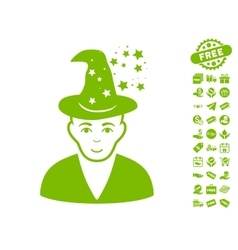Magic master icon with free bonus vector