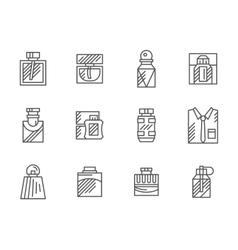 Mens fragrance black line icons set vector