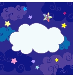 Nighttime cartoon clouds frame vector