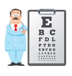 Optician doctor with snellen eye chart doctor vector