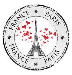 Paris town in France grunge stamp love heart vector image vector image