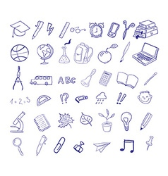 Set of hand drawn icons education back to school vector