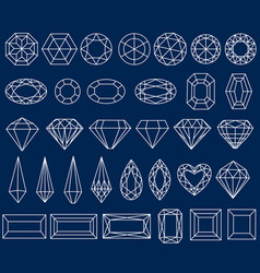 set of precious stone cut vector image