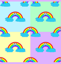 Set of seamless patterns from a cartoon rainbow vector