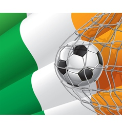 Soccer goal and Ireland flag vector image vector image
