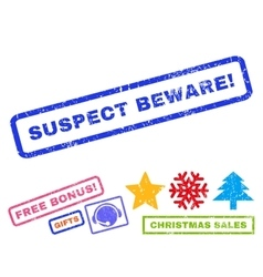 Suspect beware rubber stamp vector
