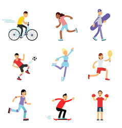 teen boys and girls engaging in different sports vector image vector image