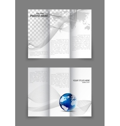 Tri-fold business wavy brochure vector