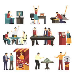 winning icons set vector image vector image