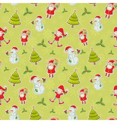 Christmas cartoon characters seamless pattern vector