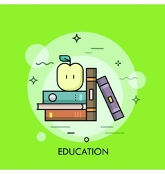 Thin line education concept with books and apple vector