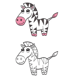 Cute cartoon zebra vector image