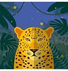 Leopard on the jungle background vector