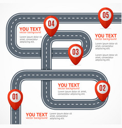 Road infographic with location mark elements vector