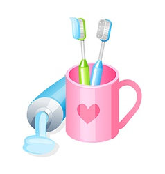 Icon toothpaste and toothbrush vector