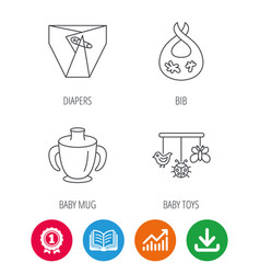 diapers child mug and baby toys icons vector image