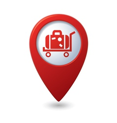 Suitcase on wheelbarrow icon red map pointer vector