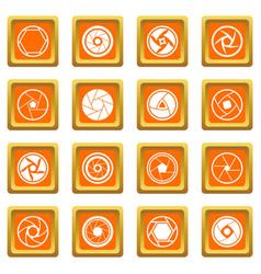 Photo diaphragm icons set orange vector
