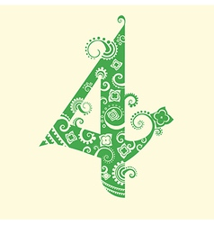 Number four in green vector