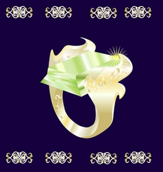 A gold ring with a green stone vector