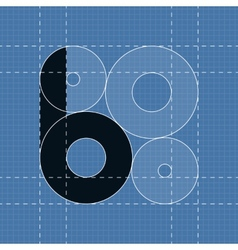 Round engineering font symbol b vector