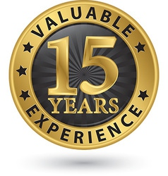 15 years valuable experience gold label vector