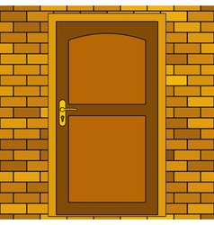 Door in brick wall vector