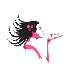 Girl blowing kiss vector