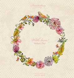 vintage wreath with cute birds and flowers vector image