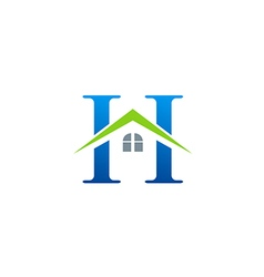 House roof initial letter h logo vector