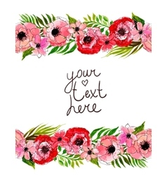 Floral border with pink flowers vector