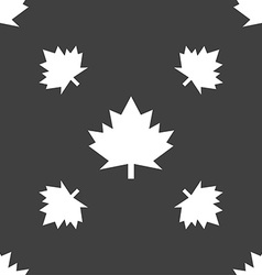Maple leaf icon seamless pattern on a gray vector
