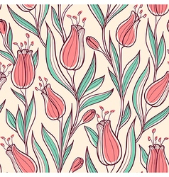 Pattern with pink tulips vector