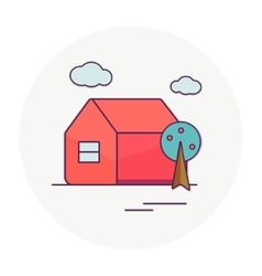 Red house tree and clouds vector