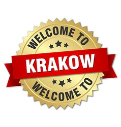 Krakow 3d gold badge with red ribbon vector